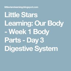 Little Stars Learning: Our Body - Week 1 Body Parts - Day 3 Digestive System