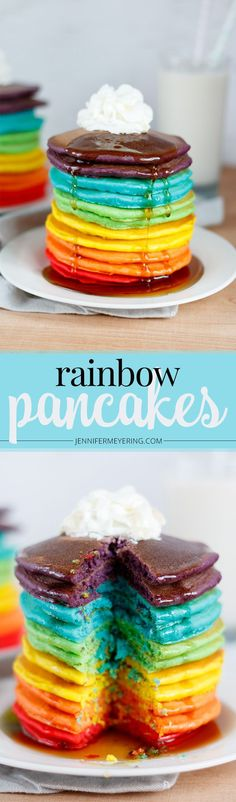 Rainbow Pancakes - http://JenniferMeyering.com