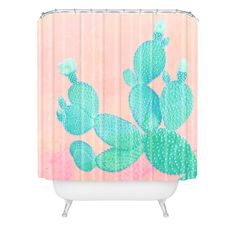 Kangarui Pastel Cactus Shower Curtain | DENY Designs Home Accessories