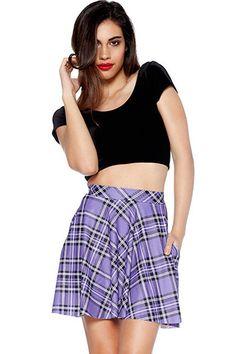 Light+Purple+Plaid+Print+Stylish+Skirt+#Light+#Skirt+#maykool