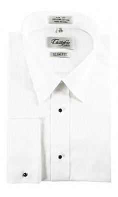 """""""Lorenzo"""" White Laydown Tuxedo Shirt"""