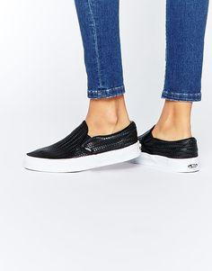 4fad330dd10848 Image 1 of Vans Black Weave Classic Slip On Trainers Black Weave