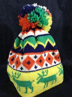 Vintage ARIS Ski Hat Pom Pom Beanie Ugly Christmas Cap Winter 100% Wool #hat #Beanie