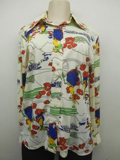 70's Ladies Long Sleeve Judy Bond Park Flower Design Blouse sz 16 (#13008) #spring #vintage