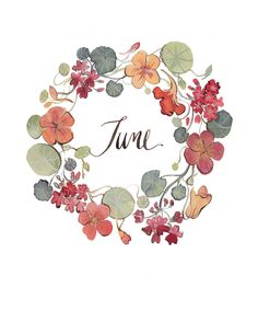 Beautiful free printable graphic for June. The floral wreath printable features beautiful colors and can be used for handmade cards or layouts.