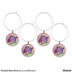 Stained Glass Rose Wine Glass Charm