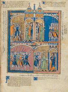 Joab Reproaches David; David Greets the People; Sheba's Rebellion; Judah Remains Loyal | Old Testament miniatures | 1240s | Illuminated Manuscript | The Morgan Library & Museum