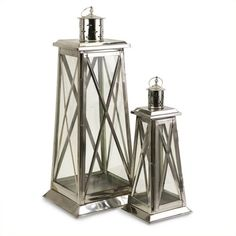 IMAX Corporation Regatta Steel Candle Lanterns (Set of 2) ($124) ❤ liked on Polyvore featuring home, home decor, candles & candleholders, pillar candle holders, pillar candles, column candle holders, pillar candle-holder and steel candle holders