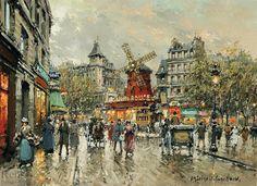 Le Moulin Rouge Place Blanche a Montmartre     Artist: Antoine Blanchard