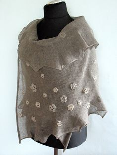 Linen Scarf Natural Gray Shawl Wrap Stole with by Initasworks, $129.00