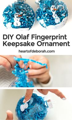 Adorable Frozen Olaf Fingerprint Ornament Kids Can Make Themselves Make your own keepsake ornament this Christmas! Create a Frozen themed Olaf fingerprint ornament with your toddler or preschooler. An adorable and easy holiday kid's craft! Frozen Ornaments, Kids Christmas Ornaments, Christmas Activities For Kids, Holiday Crafts For Kids, Frozen Activities, Xmas, Christmas Games, Art Activities, Diy Christmas