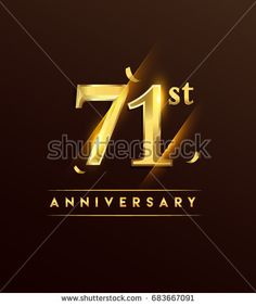 71st anniversary glowing logotype with confetti golden colored isolated on dark background, vector design for greeting card and invitation card.