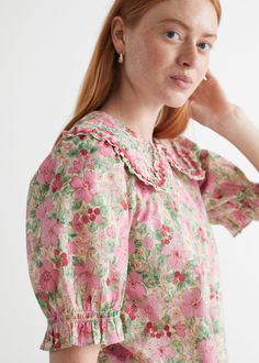 Ruffled Statement Collar Blouse - Pink Florals - Blouses - & Other Stories GB
