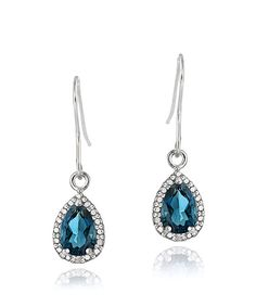 Take a look at this London Blue Topaz, Diamond & Sterling Silver Pear Drop Earrings on zulily today!