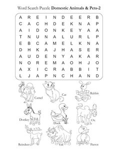 Word Search Puzzle Domestic Animals 2 | Download Free Word Search Puzzle Domestic Animals 2 for kids | Best Coloring Pages