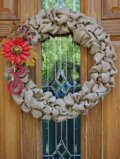 Fall Burlap Wreath with Flower and Monogram by FrontDoorCt on Etsy, $45.00