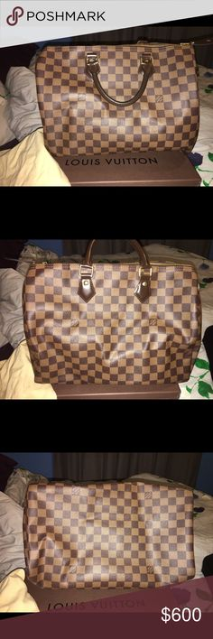 Lou's Vuitton speedy 30 damier Perfect condition. Have worn a handful of time but selling to get the bandolier bag instead. Comes with dust bag and lock. Not a single scratch on the leather straps. Completely forgot to take a picture of the inside but it is IMMACULATE. No stain tears anything. Might as well be fresh out of the store. Louis Vuitton Bags Satchels