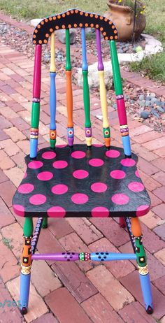 Handpainted OOAK Chair { Custom Colorful Painted Chair} Pink Okra