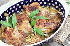Kacze nogi pieczone na jabłkach Polish Recipes, Halibut, Poultry, Meat, Chicken, Impreza, Christmas, Products, Xmas