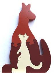 Handmade wooden kangaroo puzzles, three different color combinations to choose from!