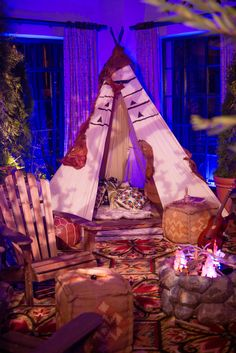 Glamping Themed Bar Mitzvah! El Mar transformed into a campground area complete with Teepee! #FourSeasons