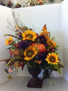 Autumn urn custom floral by Andrea for Michaels Laverne ca