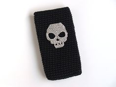 Black crochet case for Iphone5 Iphone4 Samsung  Silver by SILAYAYA, €15.00