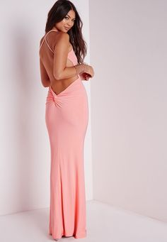 Missguided - Slinky Back Knot Maxi Dress Pink
