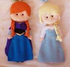 Detalhes e Artes: Moldes das Bonecas Princesas Disney em Feltro: Frozen Anna e Elsa