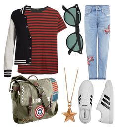 """""""602"""" by haleenahussain on Polyvore featuring R13, adidas, Citizens of Humanity, Marvel, True Rocks, Marc Jacobs and Ray-Ban"""