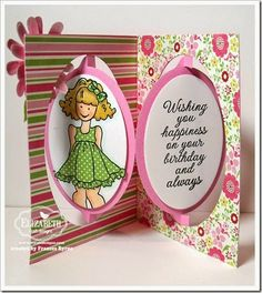 You're a Doll! created by Frances Byrne using Oval Accordion Card Die; Oval Dots Frame Edges – designed by Karen Burniston for Elizabeth Craft Designs; Big Flower Set 1 – Elizabeth Craft Designs. Prima Doll Stamp.
