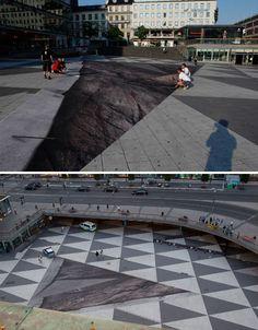 Erik Johansson optical illusion in the center of Stockholm.