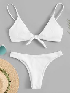 To find out about the Plus Knot Front Ribbed Top With Cheeky Bikini at SHEIN, part of our latest Plus Size Swimwear ready to shop online today! Cute Bikinis, Cute Swimsuits, Summer Bikinis, Women Swimsuits, Trendy Bikinis, Modest Swimsuits, Retro Bathing Suits, Summer Bathing Suits, Swimwear Fashion