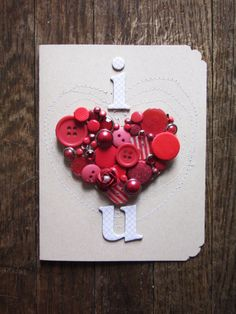 DIY Valentines Day Cards - Button Heart Valentine's Card - Easy Handmade Cards for Him and Her, Kids, Freinds and Teens - Funny, Romantic, Printable Ideas for Making A Unique Homemade Valentine Card - Step by Step Tutorials and Instructions for Making Cute Valentine's Day Gifts http://diyjoy.com/diy-valentines-day-cards