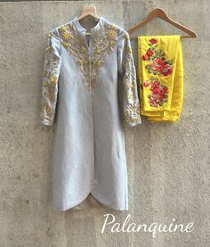 Jacket kurta with mirrorwork and thread embroidery only at Palanquine. email: palanquineboutique@gmail.com