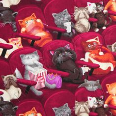 Love this fabric, especially the cat knitting the scarf! Cat Wine, Cat Fabric, Curious Cat, Kawaii, Cotton Quilts, Cotton Fabric, Movie Theater, Theatre, Cute Illustration