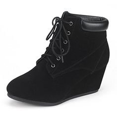 DREAM PAIRS TOWERR Women's Fashion Casual Outdoor Low Wedge Heel Booties Shoes