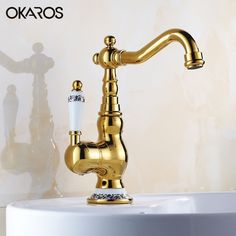 57.43$  Watch now - http://alive3.worldwells.pw/go.php?t=32763697126 - OKAROS Basin Faucet Solid Brass Gold Finish Single Handle Ceramic Decoration Vessel Sink Hot And Cold Water Tap Mixer Torneira