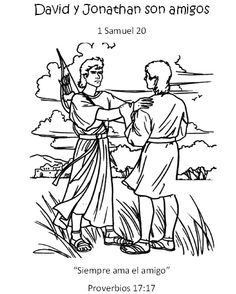 David and Jonathan (VBS Wednesday) David And Jonathan, David Y Jonatán, Bible Coloring Pages, Coloring Pages For Boys, Cartoon Coloring Pages, David And Goliath Craft, David Bible, Samuel Bible, Transformers Coloring Pages