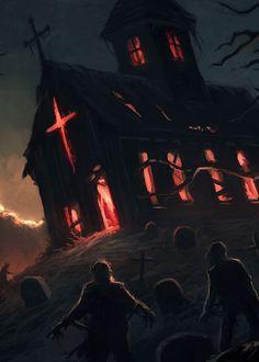 Evil Returns by Andreas Rocha Dark Fantasy Art, Fantasy Artwork, Digital Art Fantasy, Creepy Horror, Horror Art, Dark Art Illustrations, Evil Art, Dark City, World Of Darkness