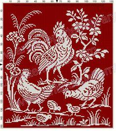 Biscornu Cross Stitch, Cross Stitch Bookmarks, Cross Stitch Bird, Cross Stitch Flowers, Cross Stitch Designs, Cross Stitch Embroidery, Cross Stitch Patterns, Crochet Chicken, Crochet Placemats