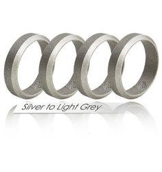 Silver to Light Grey Silicone Wedding Rings ★ 4 Pack