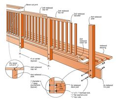 Various how to wood construction project instructions : Baluster Railings Porch Railing Designs, Patio Deck Designs, Balcony Railing, Deck Railings, Deck Building Plans, Deck Plans, Platform Deck, Cabin Decks, Deck Framing