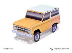 Simple Ford Bronco paper model | http://papercruiser.com/downloads/classic-ford-bronco-simple/