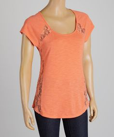 Another great find on #zulily! Bright Coral Lace Accent Tee #zulilyfinds