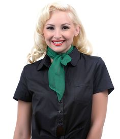 Kelly Green 50's Style Retro Neck and Hair Scarf- Unique Vintage