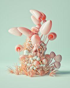Roman Bratschi on Behance 3d Collage, Graphisches Design, Graphic Design, 3d Cinema, Mushroom Art, Poster Design, 3d Texture, 3d Artwork, 3d Drawings