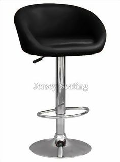 Set Of 2 JERSEY SEATING Black Leather Bar Stool Counter Swivel Chair by JerseySeating. $89.00