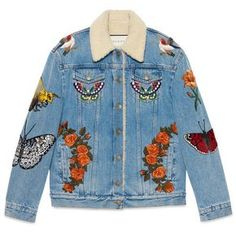 Gucci Embroidered Denim Jacket (€3.795) ❤ liked on Polyvore featuring outerwear, jackets, coats & jackets, denim, ready to wear, women, gucci, blue denim jacket, flower jacket and denim jacket