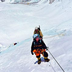 Climbing on new route on Lhotse face